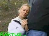 Amateur outdoor handjob