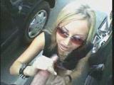 Blonde hooker sucking dick in a parking lot
