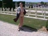 Exhibitionist flashing at the cemetry