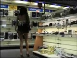Girl flashes in the mall