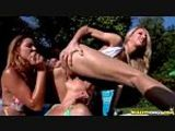 Lesbian Poolside Wet Action and Lots of Toys to Play with