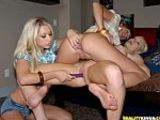 Three smoking hot lesbian girls eat each other out