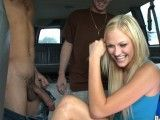 Blonde chick fucking two dudes