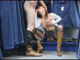 German couple fucking in a public changing room