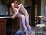 Young blonde fucks in parents kitchen