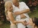 Daddy cums in 2 schoolgirls