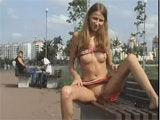 Shameless Russian girl strippin in outdoor