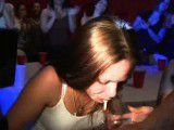 Filthy girl spits out jizz from a stripper