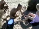 Horny girl preyed on by masturbating guys at beach