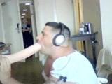 Weird guy sucking dildos