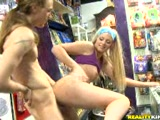 Dirty blonde fucked in a public store