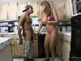 Momma jerks off sons black friend in the kitchen!