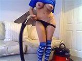 Pussy uses vacuum cleaner to masturbate