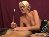 Blond stepsis jerks me to orgasm