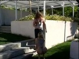 Angel Long outdoor sucking to staircase s ...