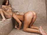 Busty brunette slut & blonde girlfriend lick each other in shower