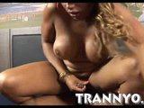 Massive round tits ebony shemale banged in her asshole