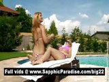 Adorable Bernice And Lena Blonde Lesbian Babes Getting Naked By The Pool