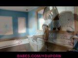 HOT & sexy brunette teen Nina James masturbates after her shower