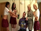 Group of cfnm schoolgirls get naughty
