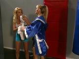 Blonde lesbian gym tribbing and rumbling