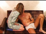Couple has fun on couch