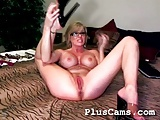 Hot blond enjoying multiple dildo in her pussy
