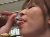 Japanese Babe Enjoys The Hardcore Threesome Sex On Table