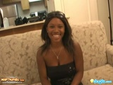 Ebony Beauty Cherrie Blows White Cock And Takes Cum In Mouth