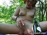 Amateur girlfriend toys and sucks outdoor with facial cum