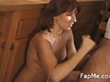Horny girl wanks and licks a cock