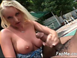 Lovely girl blows and wanks a nice cock