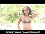Horny teen Ebony with a perfect ass gets a big-dick poolside