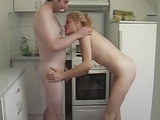 Blonde Wife Fucking In Kitchen And Eating Cum