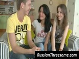 Russian teen girls tease a dude