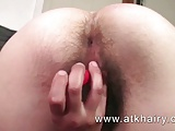 Renee from ATKHairy shows her hairy pussy, legs and armpits