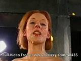 Redhead German in gangbang bukkake