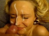 Busty blonde gets a big facial