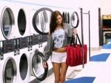 Horny slut fucks dude in laundromat