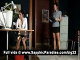 Angelic Brunette Lesbians Kissing And Having Lesbian Sex At The Office