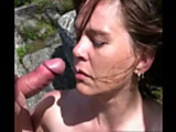 Two man and one girl - outdoor sex