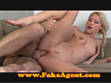 Sexy blonde takes mouthful of spunk