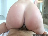 ShesNew Sexy Brunette Shows Bubbly Butt As She Humps On Cock