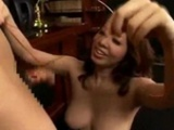 Busty Office Lady Giving Blowjob For Guy Sitting To..