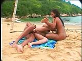 Hot Beach Threesome with Latinas