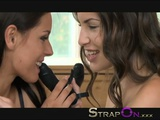 StrapOn Two Hot Brunette Lesbians Fucking Each Other With Double Dildo