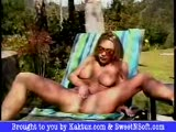 Blonde bombshell strips naked