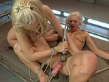 Two blonde lesbians get their fuck holes ripped apart by machines