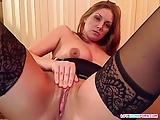 Sexy wife masturbates in pantyhose