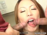 Tomoe Hinatsu Enjoys These Two Cocks Uncensored